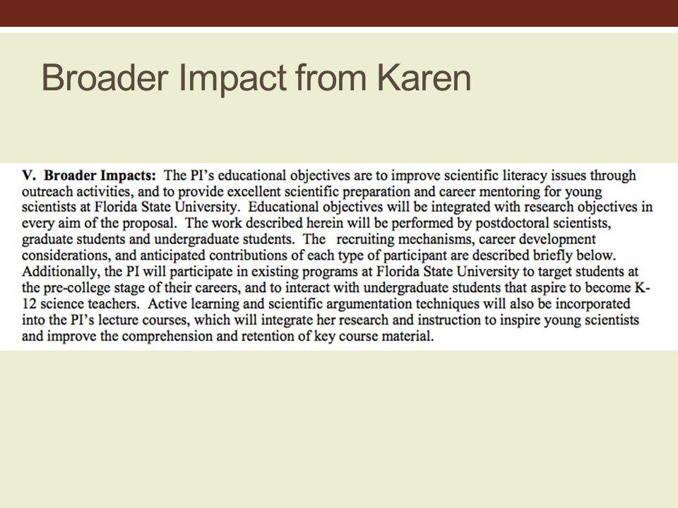 Broader Impact from Karen