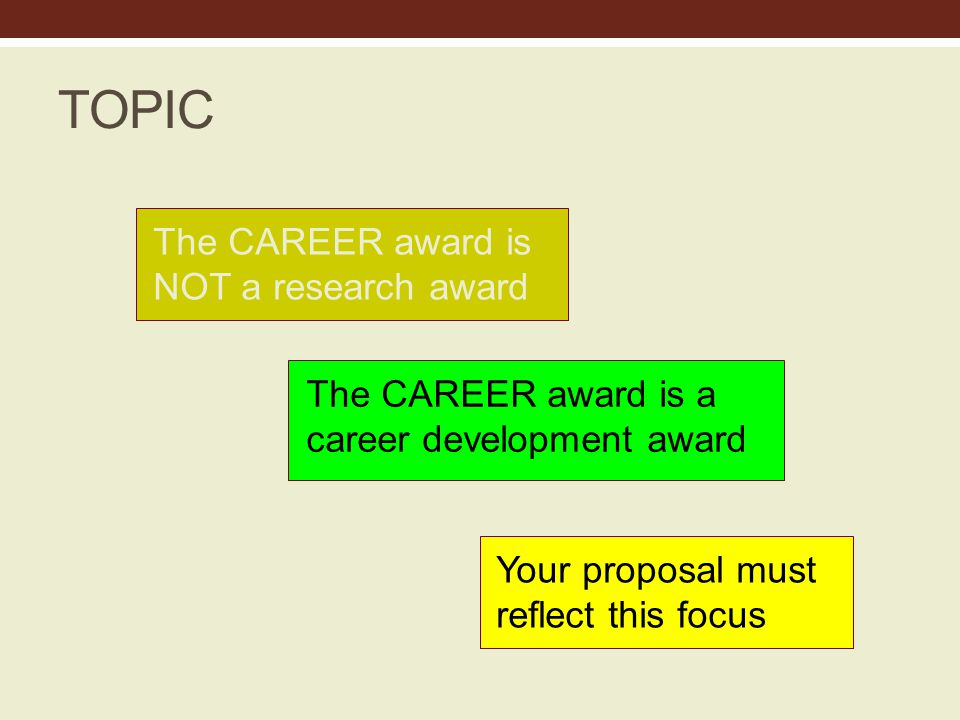 TOPIC The CAREER award is NOT a research award The CAREER award is a career development award Your proposal must reflect this focus