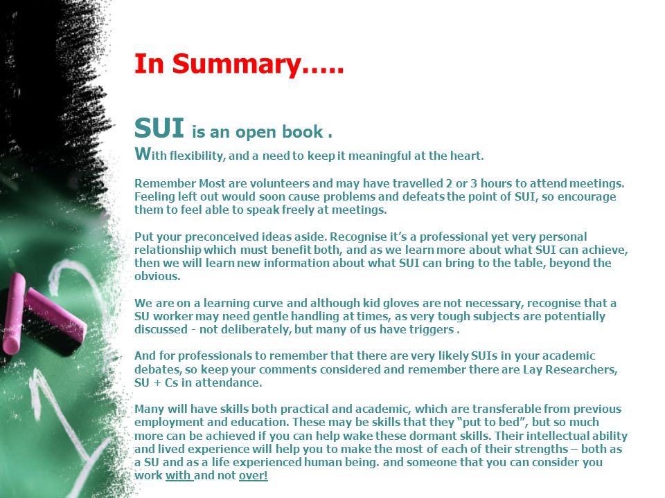 In Summary….. SUI is an open book.