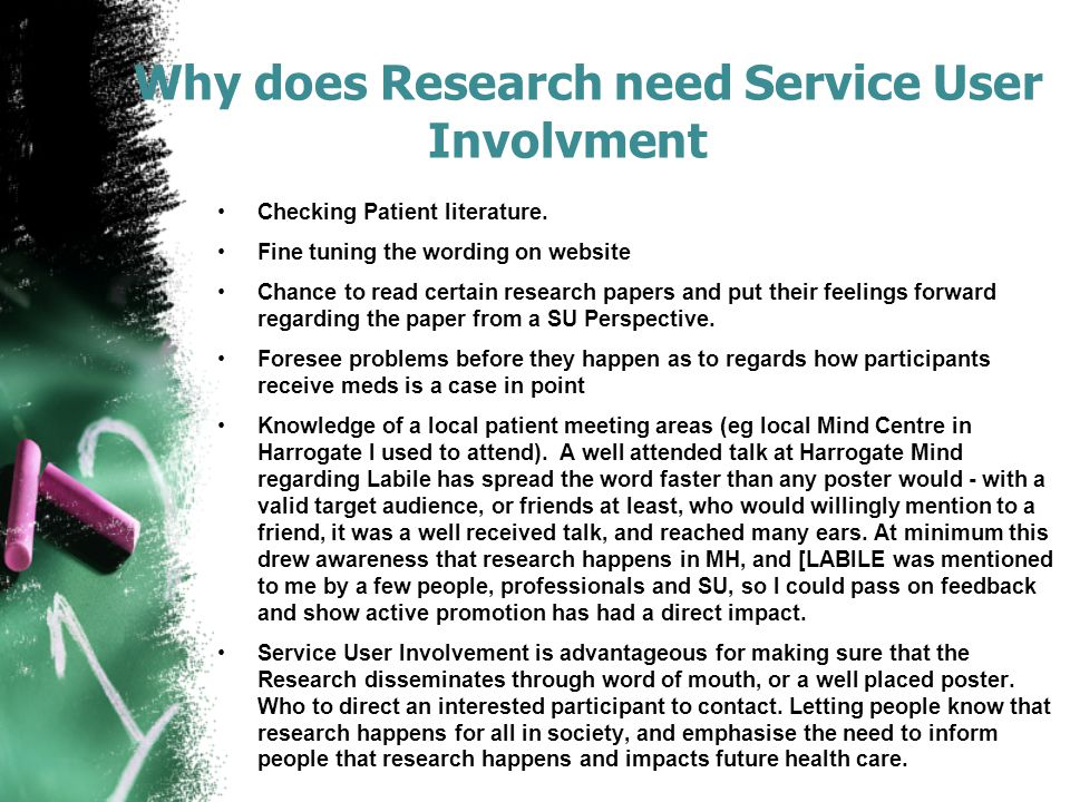 Why does Research need Service User Involvment Checking Patient literature.