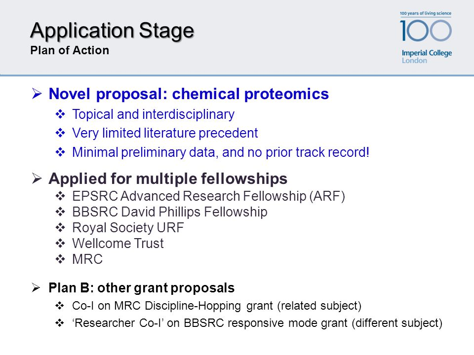 Application Stage Plan of Action  Applied for multiple fellowships  EPSRC Advanced Research Fellowship (ARF)  BBSRC David Phillips Fellowship  Roy
