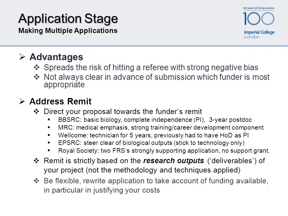 Application Stage Making Multiple Applications  Address Remit  Direct your proposal towards the funder's remit  BBSRC: basic biology, complete inde
