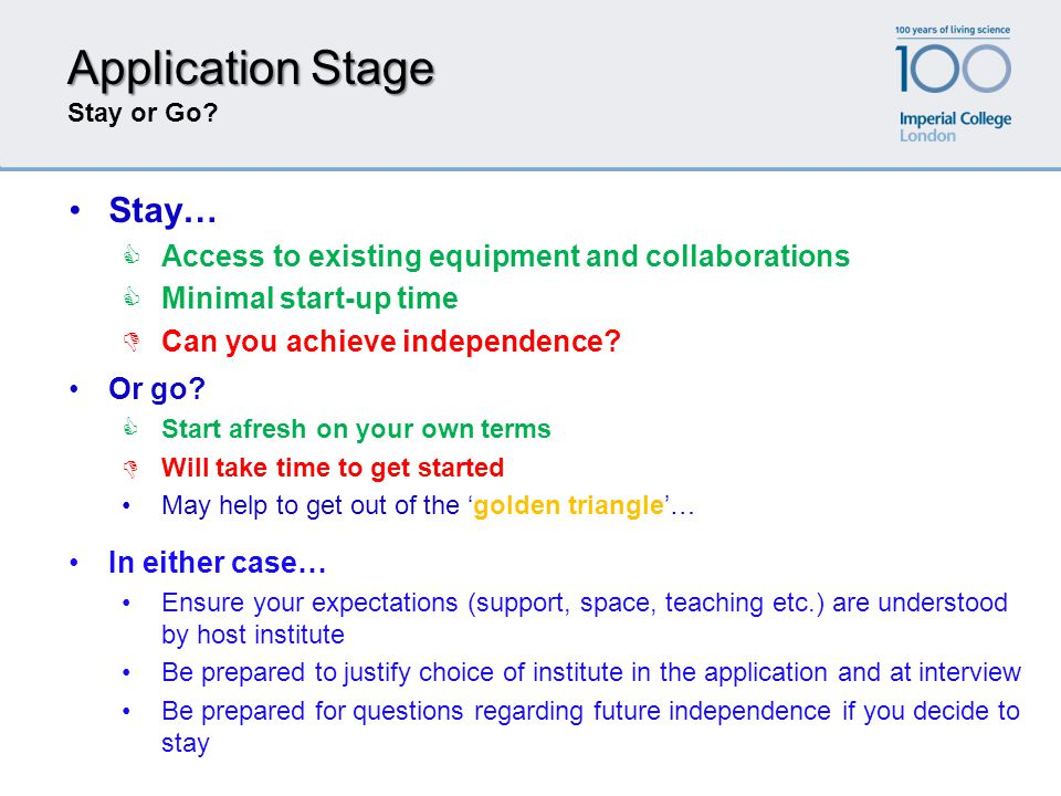 Application Stage Stay or Go? Stay…  Access to existing equipment and collaborations  Minimal start-up time  Can you achieve independence? In eithe