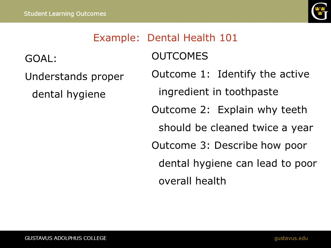GUSTAVUS ADOLPHUS COLLEGEgustavus.edu Example: Dental Health 101 GOAL: Understands proper dental hygiene Student Learning Outcomes OUTCOMES Outcome 1: