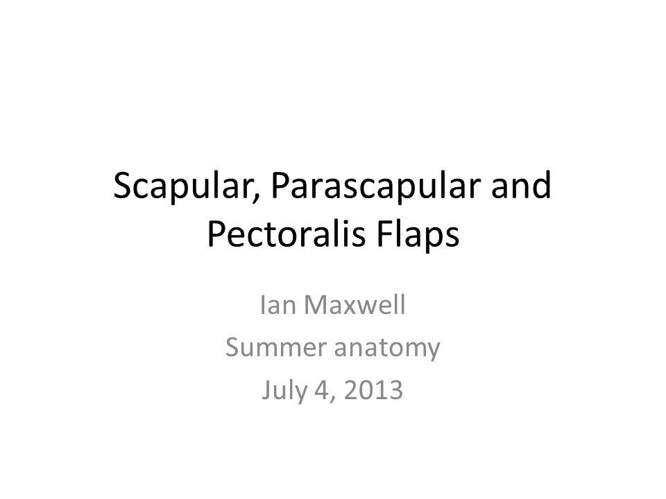 Scapular, Parascapular and Pectoralis Flaps Ian Maxwell Summer anatomy July 4, 2013
