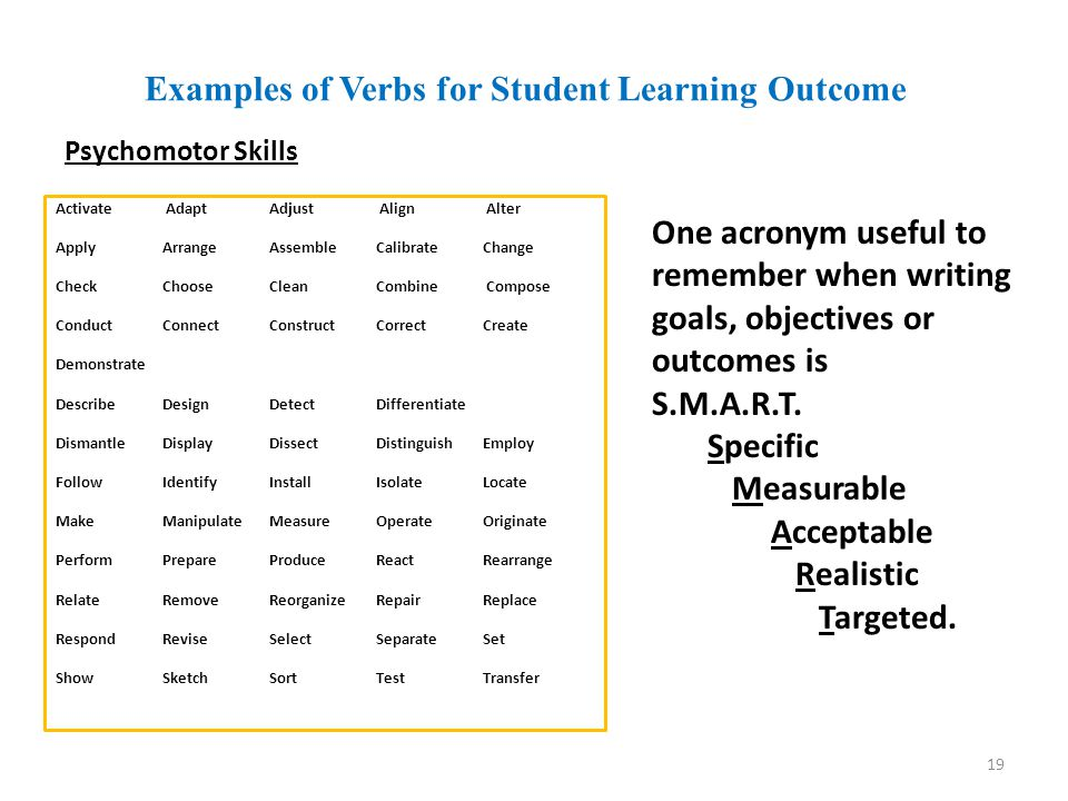 Examples of Verbs for Student Learning Outcome Psychomotor Skills Activate Adapt Adjust Align Alter Apply Arrange Assemble Calibrate Change CheckChooseClean Combine Compose ConductConnectConstructCorrectCreate Demonstrate Describe DesignDetectDifferentiate Dismantle Display DissectDistinguishEmploy FollowIdentifyInstallIsolateLocate Make Manipulate Measure OperateOriginate Perform PrepareProduce ReactRearrange RelateRemoveReorganize RepairReplace Respond Revise SelectSeparate Set Show SketchSortTestTransfer 19 One acronym useful to remember when writing goals, objectives or outcomes is S.M.A.R.T.