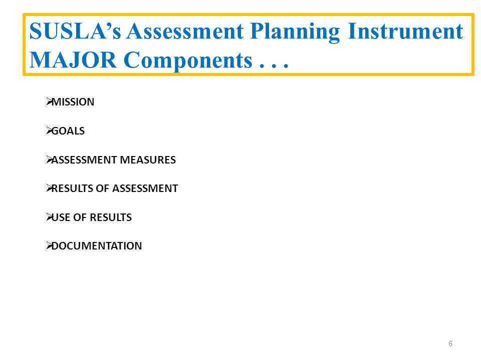 SUSLA's Assessment Planning Instrument MAJOR Components...