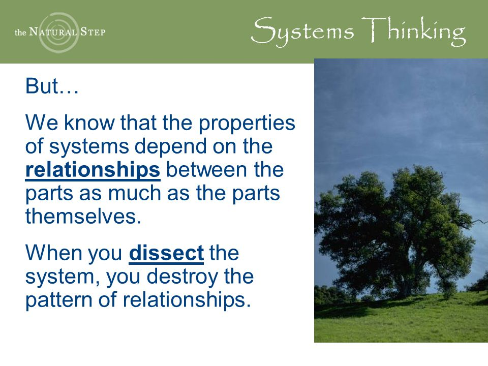 Systems Thinking But… We know that the properties of systems depend on the relationships between the parts as much as the parts themselves. When you d