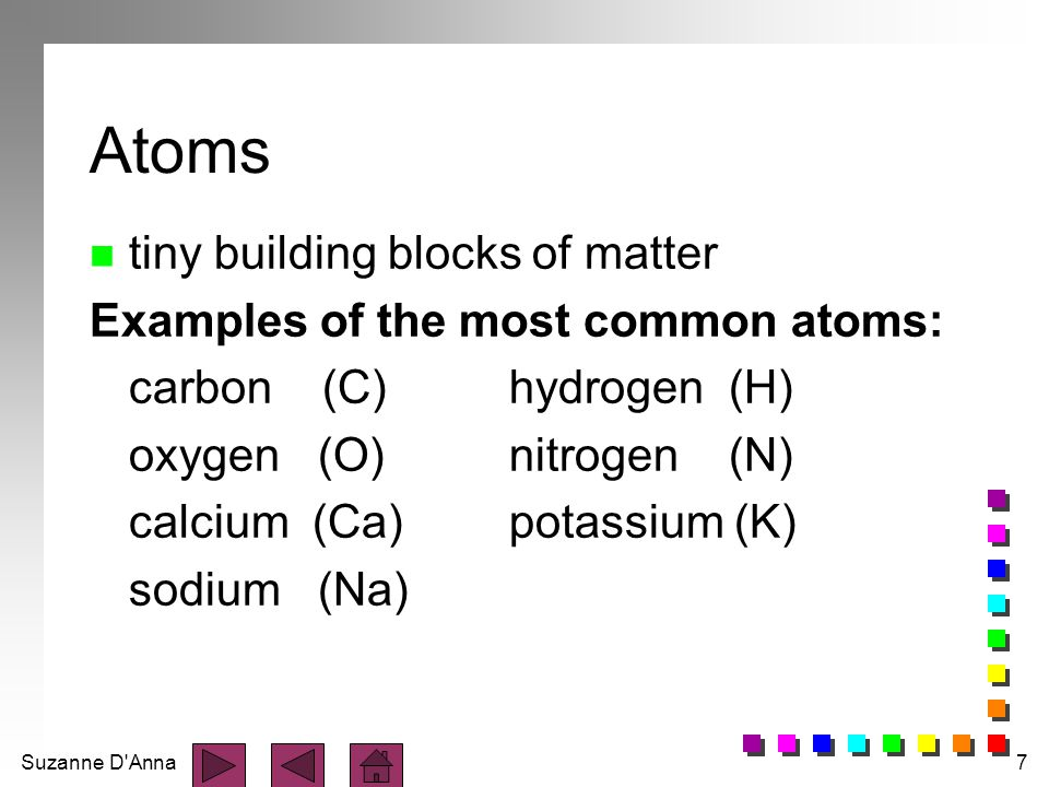 Suzanne D Anna8 atoms combine together to form molecules
