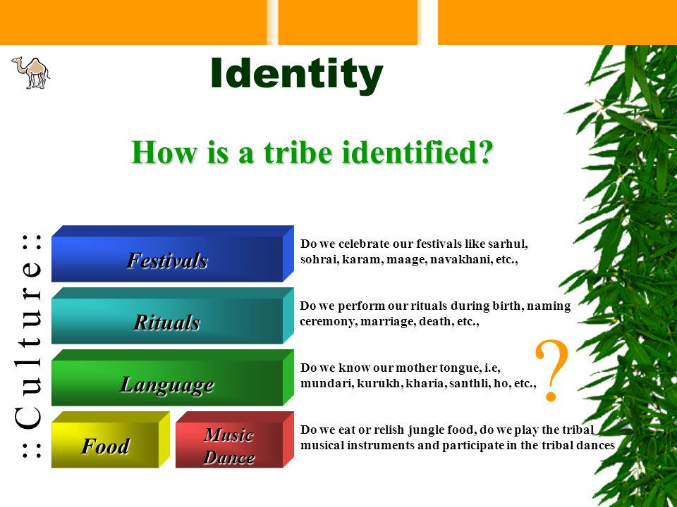 Identity We are identified by our tribal values.