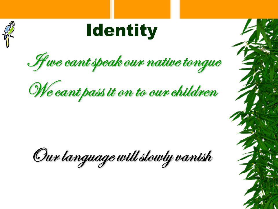 Identity If we cant speak our native tongue We cant pass it on to our children Our language will slowly vanish