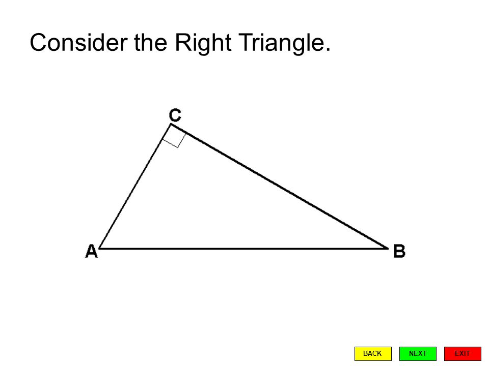 Consider the Right Triangle. EXIT BACKNEXT