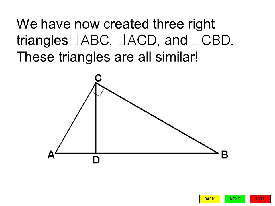 Recall that similar triangles have congruent (equal measure) corresponding angles. EXIT BACKNEXT