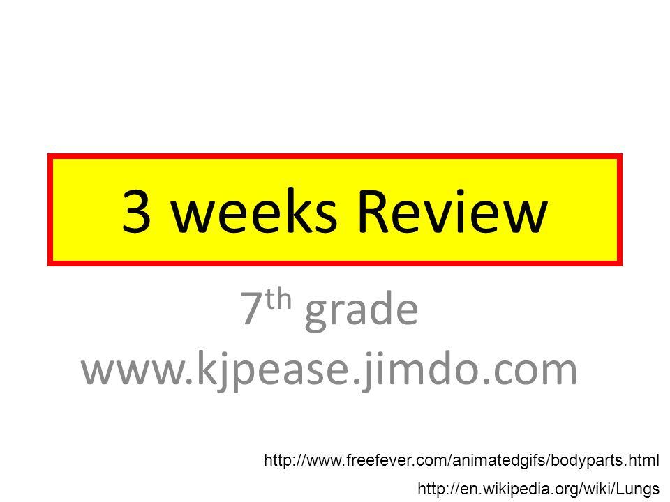 3 weeks Review 7 th grade www.kjpease.jimdo.com http://en.wikipedia.org/wiki/Lungs http://www.freefever.com/animatedgifs/bodyparts.html