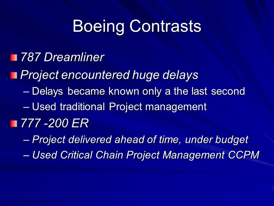Boeing Contrasts 787 Dreamliner Project encountered huge delays –Delays became known only a the last second –Used traditional Project management 777 -