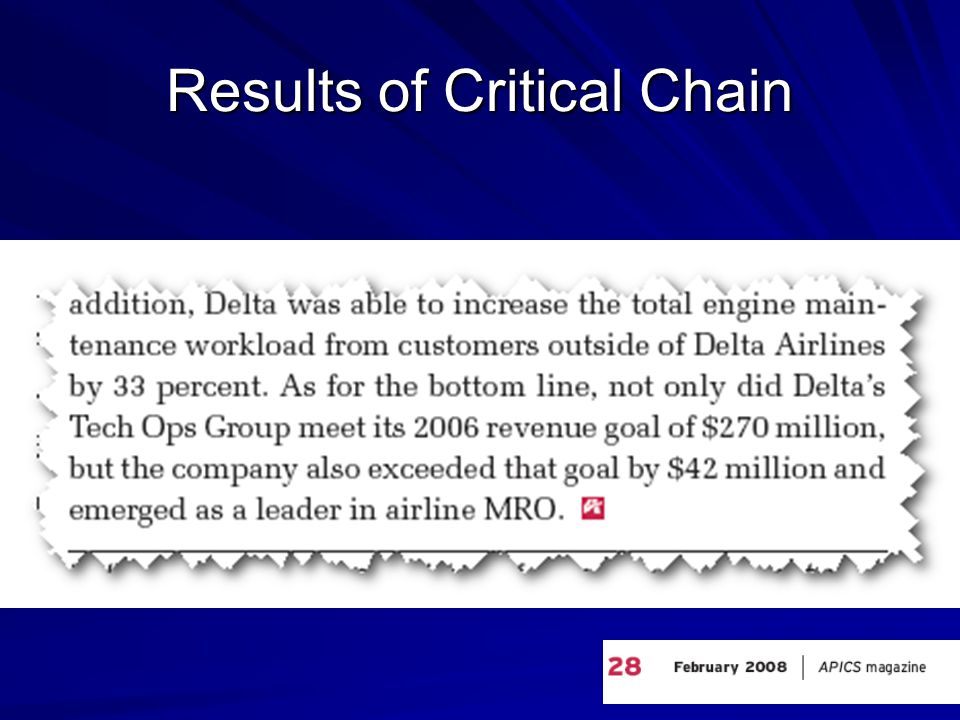 Results of Critical Chain