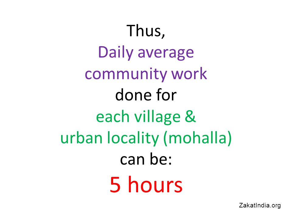 Thus, Daily average community work done for each village & urban locality (mohalla) can be: 5 hours ZakatIndia.org