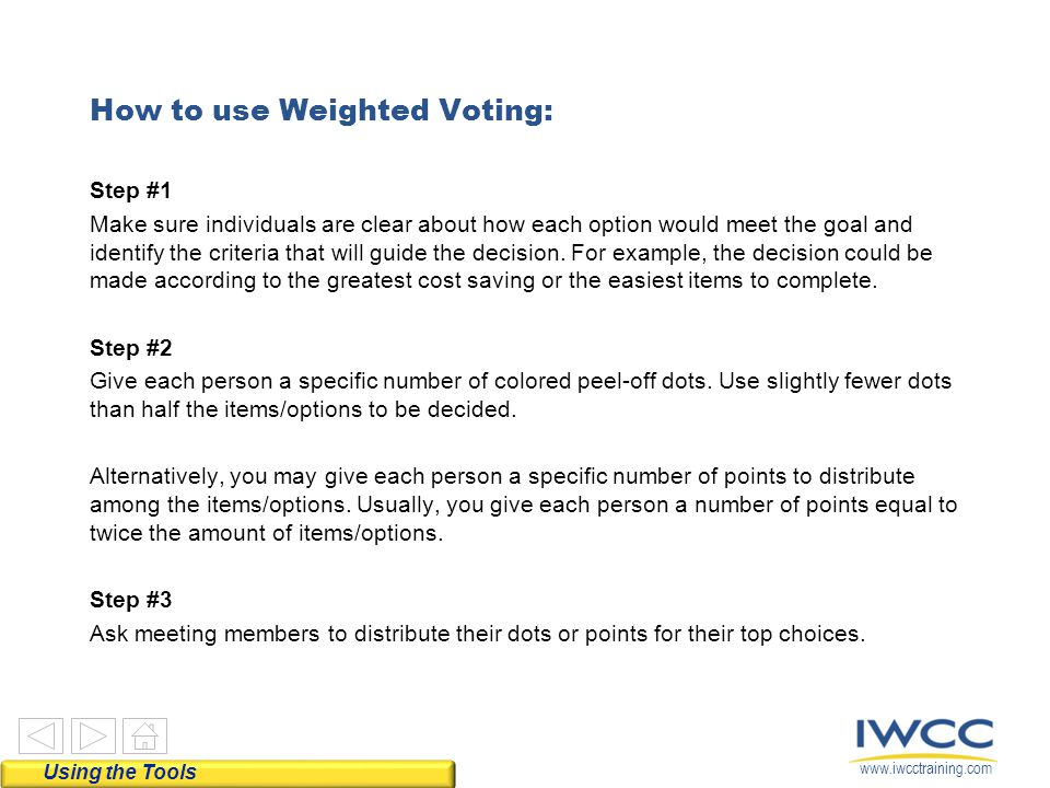 www.iwcctraining.com How to use Weighted Voting: Step #1 Make sure individuals are clear about how each option would meet the goal and identify the cr