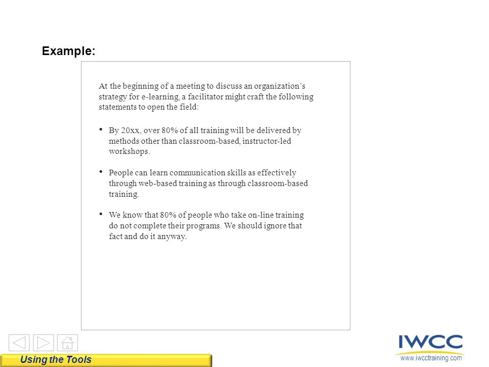 www.iwcctraining.com Example: Using the Tools At the beginning of a meeting to discuss an organization's strategy for e-learning, a facilitator might
