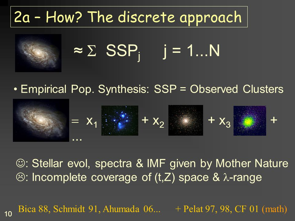 10 2a – How? The discrete approach  x 1 + x 2 + x 3 +... Empirical Pop. Synthesis: SSP = Observed Clusters ≈  SSP j j = 1...N : Stellar evol, spect