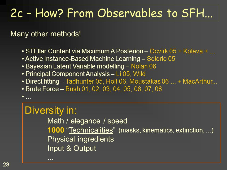 23 2c – How.From Observables to SFH... Many other methods.