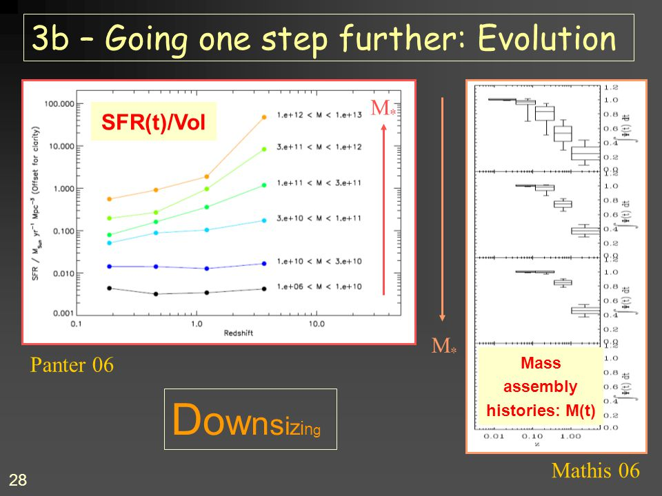 28 3b – Going one step further: Evolution M*M* Mass assembly histories: M(t) DownsizingDownsizing SFR(t)/Vol Panter 06 Mathis 06 M*M*