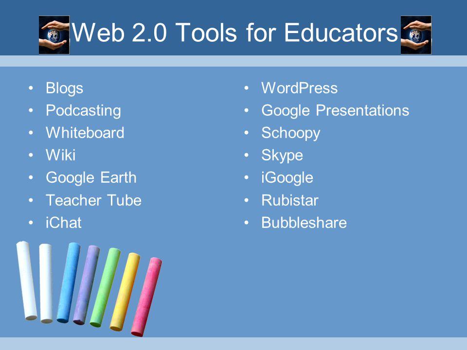 Web 2.0 Tools for Educators Blogs Podcasting Whiteboard Wiki Google Earth Teacher Tube iChat WordPress Google Presentations Schoopy Skype iGoogle Rubistar Bubbleshare