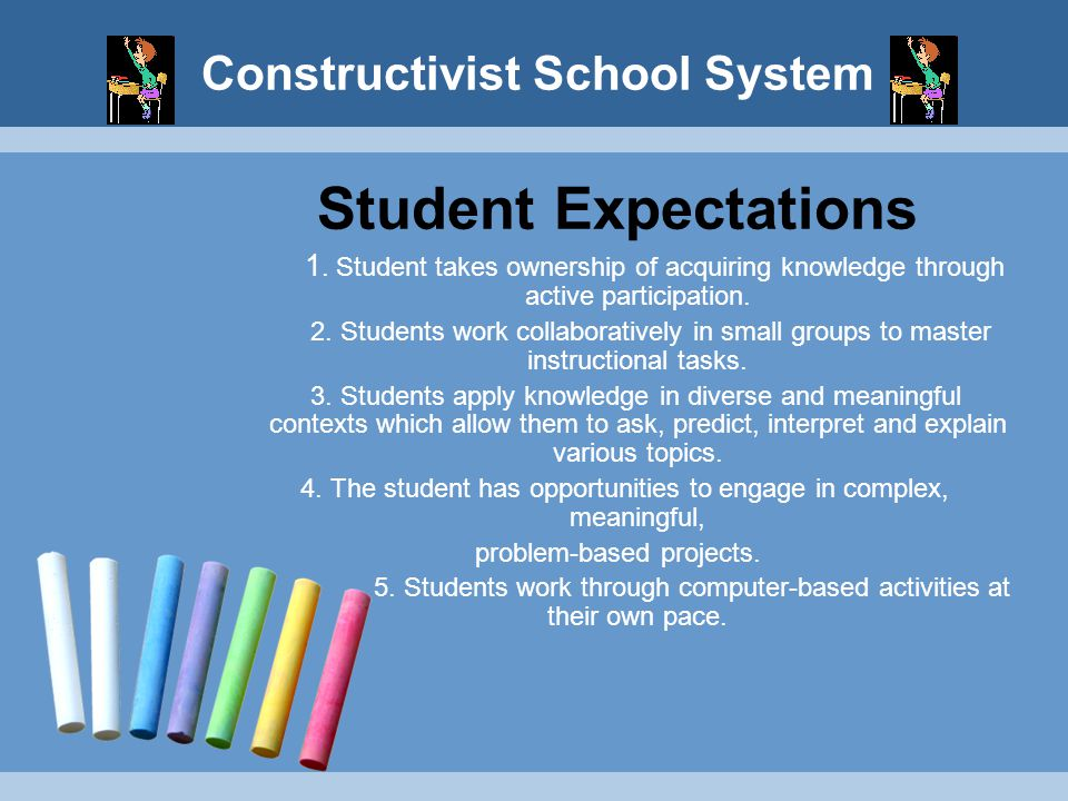 Constructivist School System Student Expectations 1. Student takes ownership of acquiring knowledge through active participation. 2. Students work col