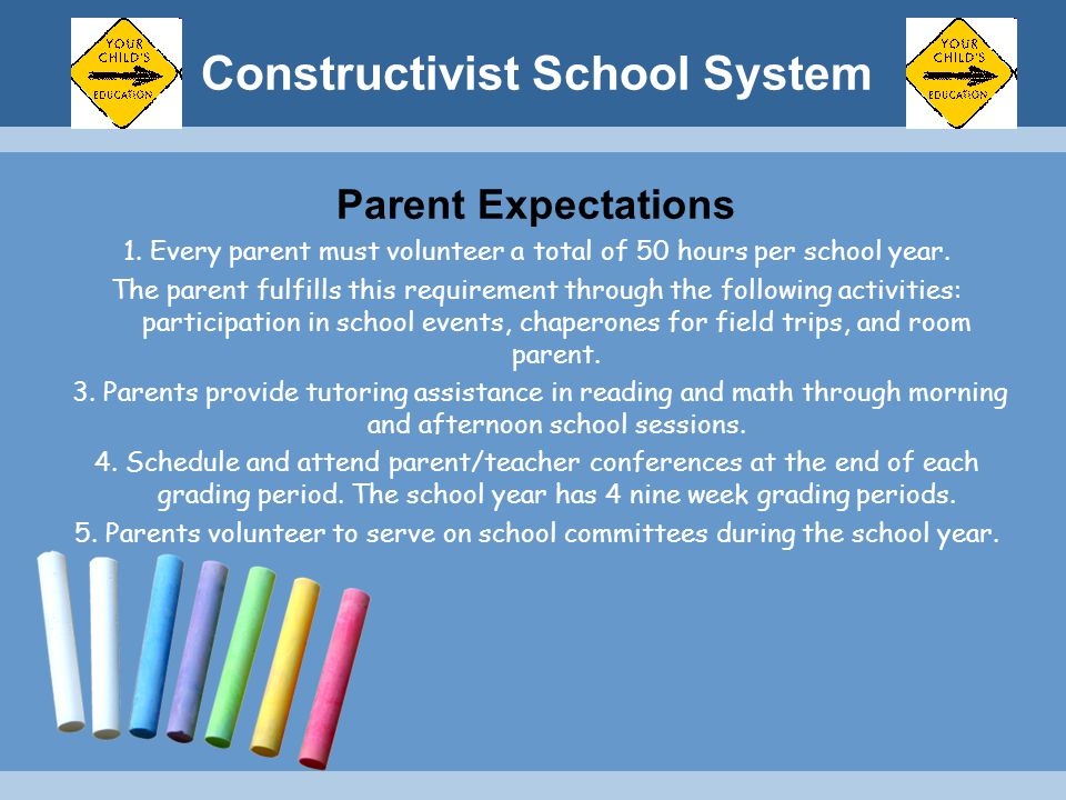 Constructivist School System Parent Expectations 1. Every parent must volunteer a total of 50 hours per school year. The parent fulfills this requirem