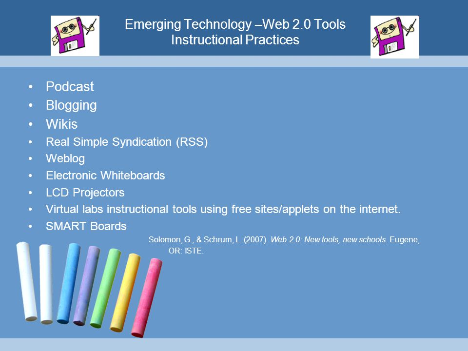 Emerging Technology –Web 2.0 Tools Instructional Practices Podcast Blogging Wikis Real Simple Syndication (RSS) Weblog Electronic Whiteboards LCD Proj