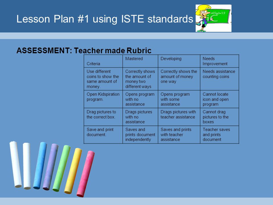 Lesson Plan #1 using ISTE standards ASSESSMENT: Teacher made Rubric Criteria MasteredDevelopingNeeds Improvement Use different coins to show the same