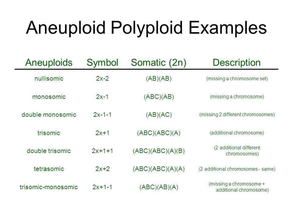 Aneuploid Polyploid Examples AneuploidsSymbolSomatic (2n)Description nullisomic2x-2(AB)(AB) (missing a chromosome set) monosomic2x-1(ABC)(AB) (missing