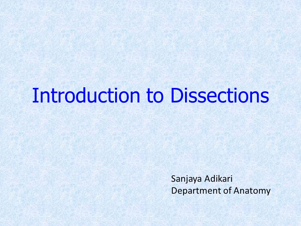 Introduction to Dissections Sanjaya Adikari Department of Anatomy