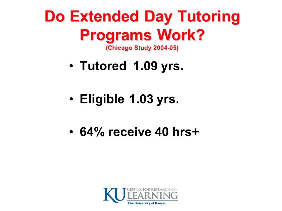 Do Extended Day Tutoring Programs Work. (Chicago Study 2004-05) Tutored 1.09 yrs.