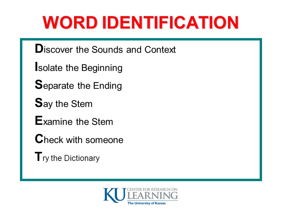 WORD IDENTIFICATION D iscover the Sounds and Context I solate the Beginning S eparate the Ending S ay the Stem E xamine the Stem C heck with someone T ry the Dictionary