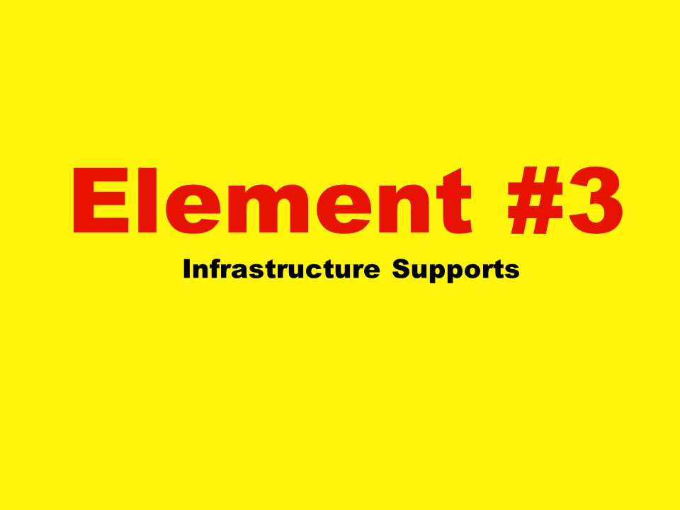 Element #3 Infrastructure Supports