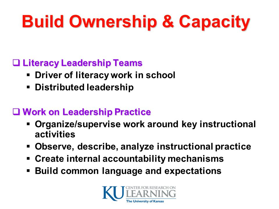 Build Ownership & Capacity  Literacy Leadership Teams  Driver of literacy work in school  Distributed leadership  Work on Leadership Practice  Organize/supervise work around key instructional activities  Observe, describe, analyze instructional practice  Create internal accountability mechanisms  Build common language and expectations