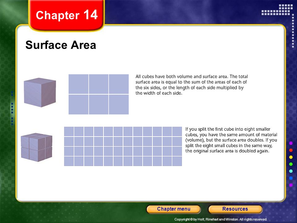 Copyright © by Holt, Rinehart and Winston. All rights reserved. ResourcesChapter menu Surface Area Chapter 14