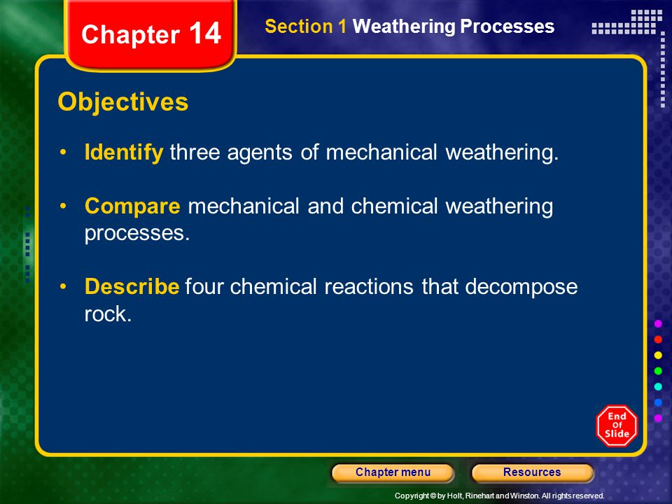 Copyright © by Holt, Rinehart and Winston. All rights reserved. ResourcesChapter menu Section 1 Weathering Processes Chapter 14 Objectives Identify th