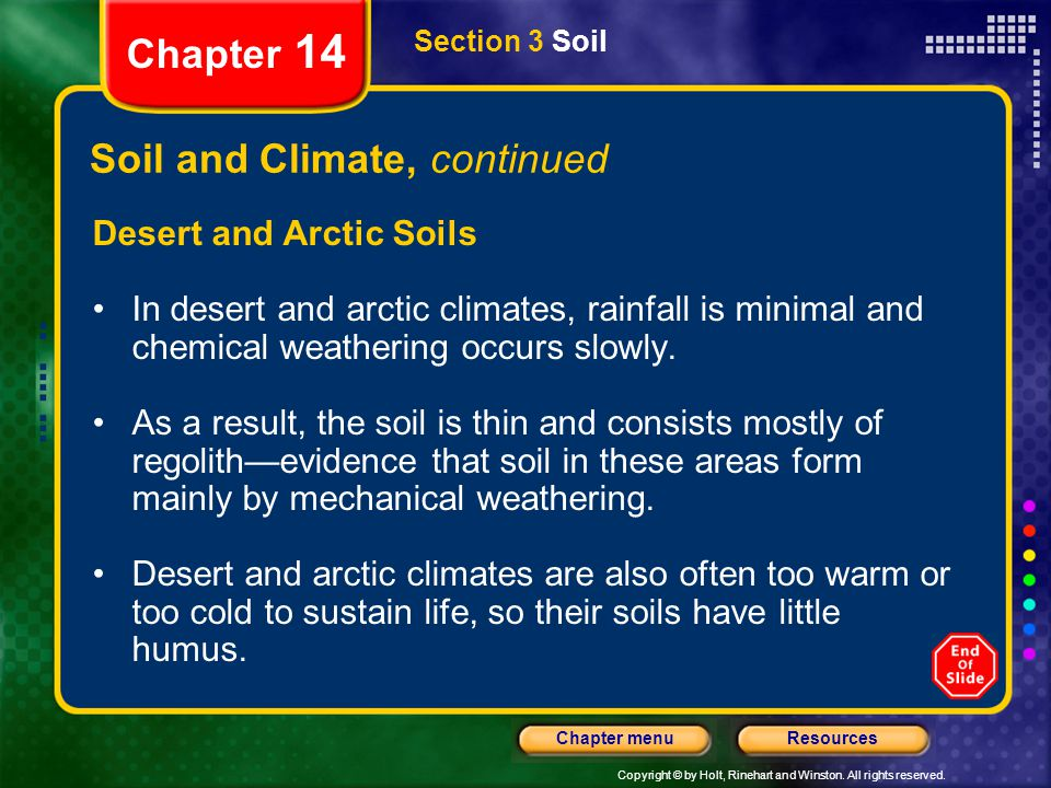 Copyright © by Holt, Rinehart and Winston. All rights reserved. ResourcesChapter menu Section 3 Soil Chapter 14 Soil and Climate, continued Desert and