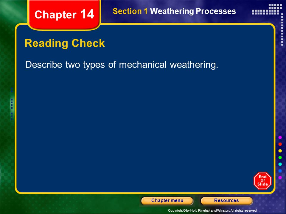 Copyright © by Holt, Rinehart and Winston. All rights reserved. ResourcesChapter menu Section 1 Weathering Processes Chapter 14 Reading Check Describe