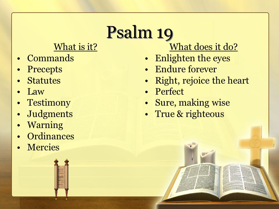 Psalm 19 What is it? Commands Precepts Statutes Law Testimony Judgments Warning Ordinances Mercies What does it do? Enlighten the eyes Endure forever