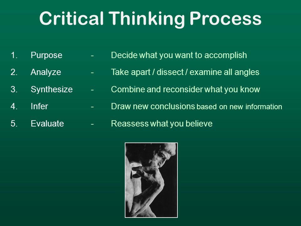 Critical Thinking Process 1.Purpose 2.Analyze 3.Synthesize 4.Infer 5.Evaluate -Decide what you want to accomplish -Take apart / dissect / examine all angles -Combine and reconsider what you know -Draw new conclusions based on new information -Reassess what you believe