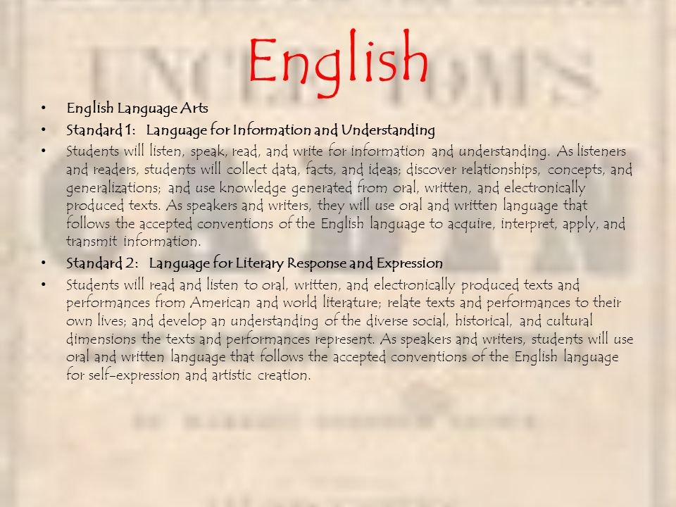 English English Language Arts Standard 1: Language for Information and Understanding Students will listen, speak, read, and write for information and understanding.