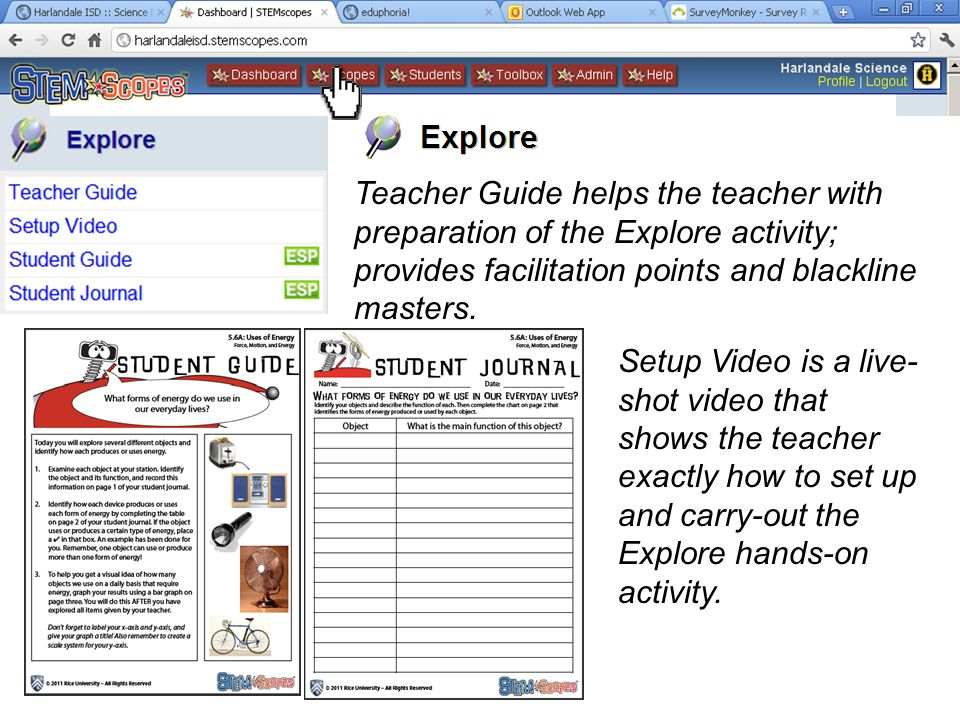 Teacher Guide helps the teacher with preparation of the Explore activity; provides facilitation points and blackline masters. Setup Video is a live- s