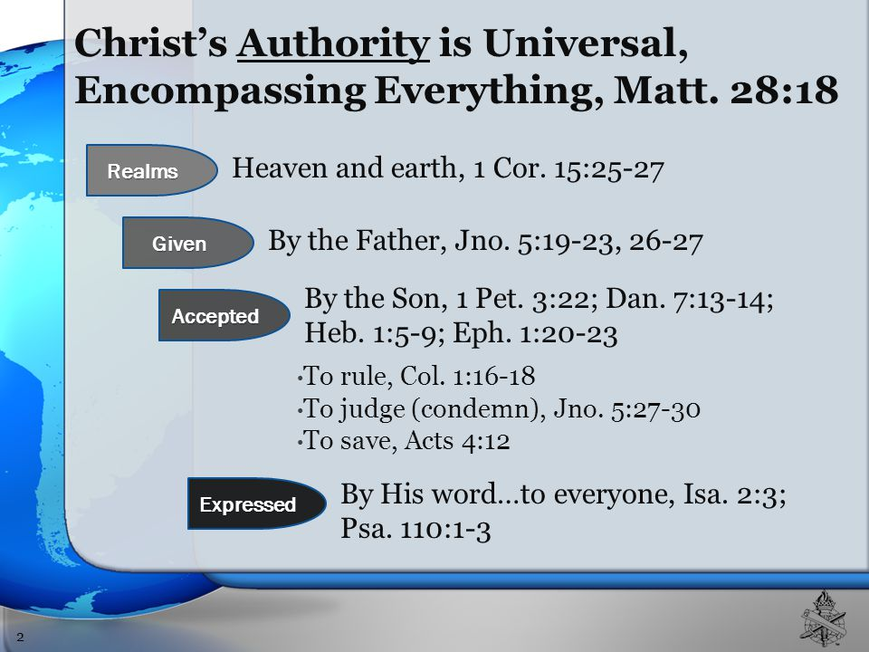 Christ's Authority is Universal, Encompassing Everything, Matt.