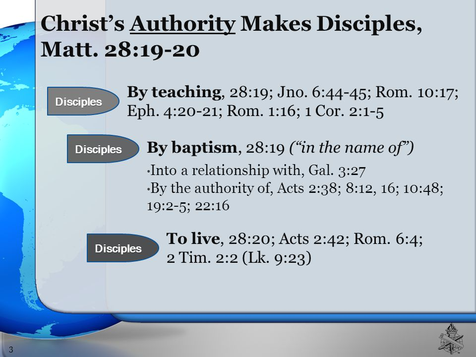 Christ's Authority Makes Disciples, Matt.28:19-20 By teaching, 28:19; Jno.