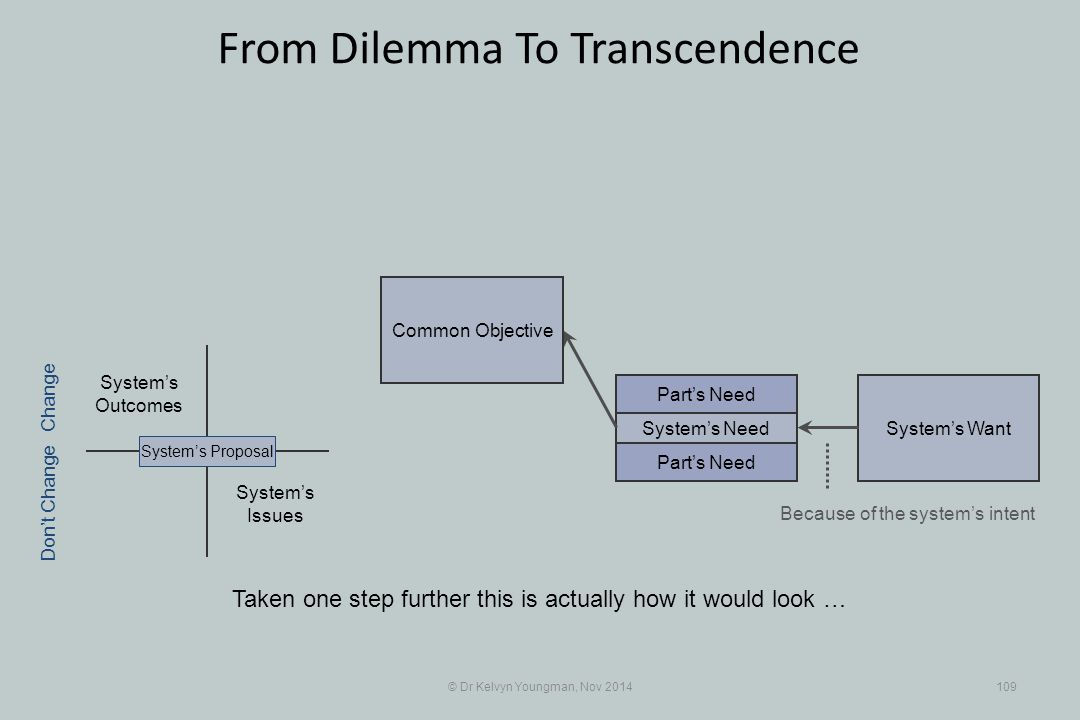 System's WantSystem's Need © Dr Kelvyn Youngman, Nov 2014109 From Dilemma To Transcendence Taken one step further this is actually how it would look …
