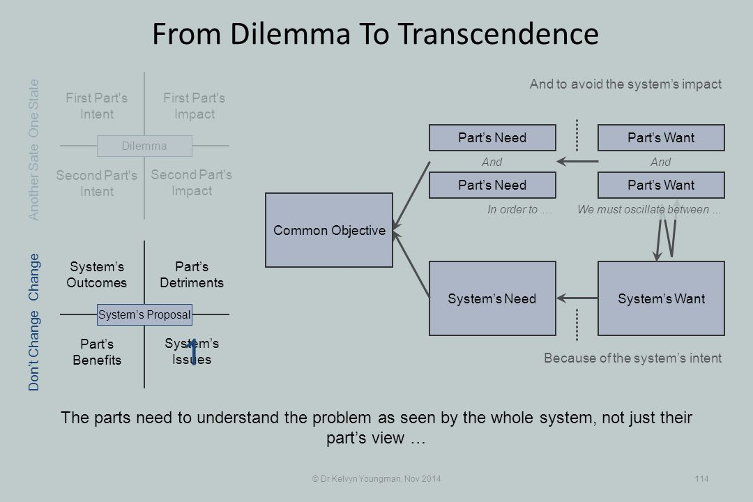 Part's Benefits System's WantSystem's Need First Part s Intent Part's Detriments Second Part s Intent First Part s Impact © Dr Kelvyn Youngman, Nov 2014114 From Dilemma To Transcendence The parts need to understand the problem as seen by the whole system, not just their part's view … And to avoid the system's impact Second Part s Impact System's Issues System's Outcomes System's ProposalDilemma Part's Need Part's Want And In order to … Because of the system's intent One State Change Don't Change Another Sate We must oscillate between...