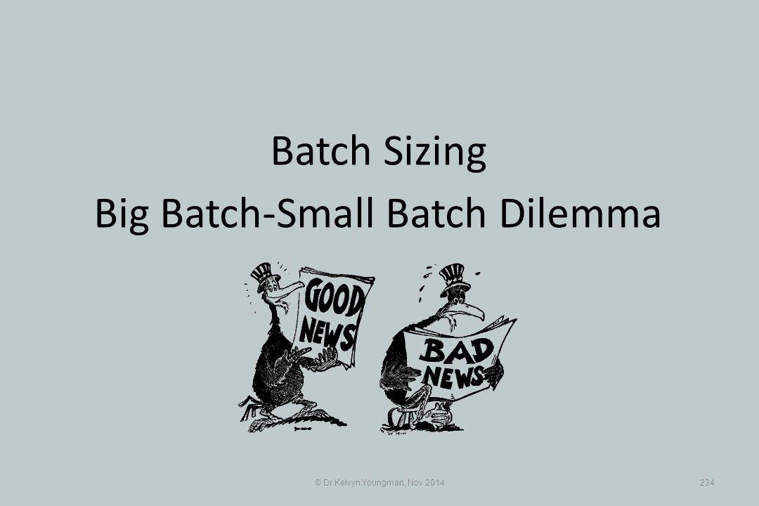 © Dr Kelvyn Youngman, Nov 2014234 Batch Sizing Big Batch-Small Batch Dilemma